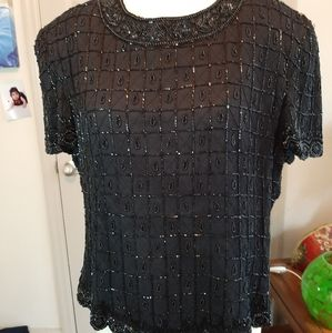 PAPELL BOUTIQUE EVENING 80s BEADED SILK TOP